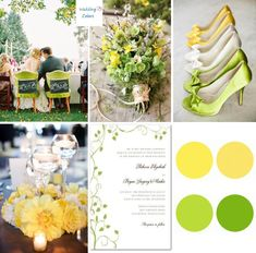 spring wedding colors | Color Inspiration|Yellow and Spring Green | Wedding Colors