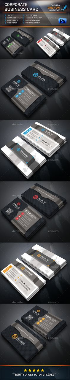 Corporate Business Card Template #design Buy Now: http://graphicriver.net/item/corporate-business-card/12850519?ref=ksioks