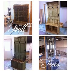 Workshop Girl: DIY Hall Trees. Doors, wood, coat rack, shoe storage, chalk paint, stain, for the home.