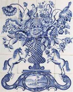 """A Dutch Makkum blue and white floral tile picture  PAINTED BY HENDRIK BASTIAANS DE HAAN AT THE TICHELAAR MANUFACTORY, CIRCA 1840"""