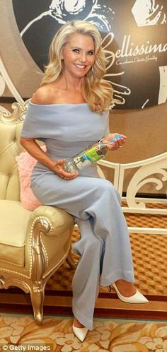 Sitting pretty: Christie dazzled in a baby blue bardot jumpsuit as she slipped into her second ensemble of the day while promoting her wine Date Outfits, Classy Outfits, Bardot, Fashion Models, Dragon Ball, Fashion Looks, Style Fashion, Purple Mini Dresses, Christie Brinkley