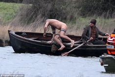 A leap of faith: Shoving his body over the side of the boat , the actor committed himself ...