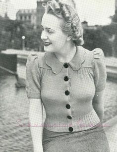 I love everything about this little cardigan! (except maybe the small 32-34 bust sizing). From Economy Knits 5, early late 30s/early 40s.   ...