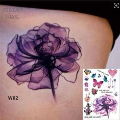 What does violet flower tattoo mean? We have violet flower tattoo ideas, designs, symbolism and we explain the meaning behind the tattoo. Violet Flower Tattoos, Violet Tattoo, Purple Tattoos, Neue Tattoos, Body Art Tattoos, Sleeve Tattoos, Small Tattoos, Dance Tattoos, Bow Tattoos