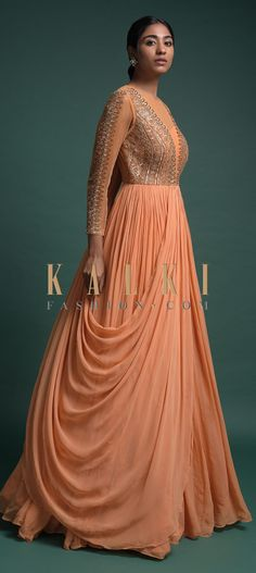 Shrimp Peach Indowestern Gown In Georgette With An Attached Drape Online - Kalki Fashion Anarkali Dress, Lehenga, Indian Designer Outfits, Designer Dresses, One Piece Gown, Indowestern Gowns, Drape Gowns, Kurti Designs Party Wear, Stylish Sarees