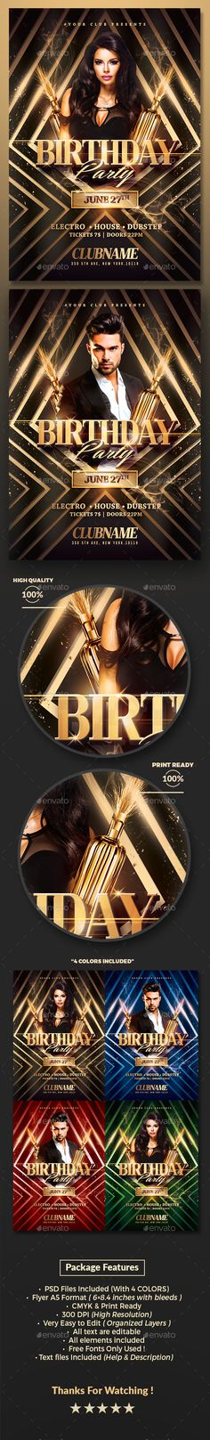 Gold Birthday Party Flyer Template PSD. Download here: http://graphicriver.net/item/gold-birthday-party-psd-flyer-template/15672687?ref=ksioks