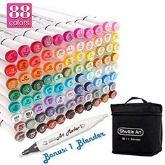 Shuttle Art 101 Colors Dual Tip Alcohol Based Art Markers,100 Colors Plus 1 Blender Permanent Marker Pens Highlighters with Case Perfect for Illustration Adult Coloring Sketching and Card Making