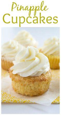 These pineapple cupcakes are moist, buttery, and loaded with crushed pineapple. They are paired perfectly with coconut buttercream for a tropical treat. Tropical Cupcakes, Pineapple Frosting, Pinapple Dessert Recipes, Crushed Pineapple Cake, Recipes With Crushed Pineapple, Cupcake Filling Recipes, Zuchinni Cupcakes, Strawberry Cupcake Recipes, Desert Recipes