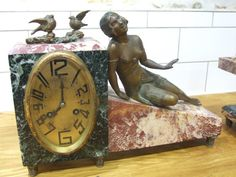 Stunning Art Deco Bronze Statue Clock by VintageRetroOddities