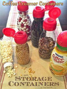 simple organizing repurposed coffee creamer containers, organizing, repurposing upcycling, storage ideas