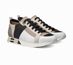 Rebus Trainers in calfskin, leather patchwork, lacquered eyelets, natural lining and insole and white rubber sole with chalk, black and twine foam insert