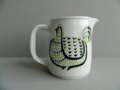 Arabia Finland Pitcher Modernist Black and Green by MonkiVintage, $62.00