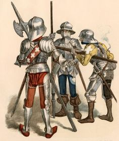 Swiss Knights in Battle with a Bombard and a Halberd, 1400s.