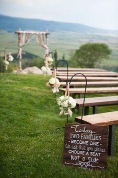 Gorgeous outdoor ceremony: http://www.stylemepretty.com/colorado-weddings/steamboat/2015/02/19/romantic-meadow-wedding/   Photography: Brinton Studios - http://brintonstudios.com/