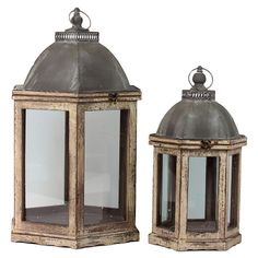 "2-Piece Dowses Candle Lantern Set :: $110.95, Retail $191 | Joss & Main :: [26""H x 14.25""W x 16.5""D (large lantern)] Grey metal top & weathered white wood frames. :: Love the distressed tops on these & their design as well as the fact that they are big flip top lids...The measurements of width & depth being different don't make much sense, however."