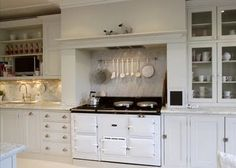 Another shot of this amazing kitchen. Great inspiration here for my kitchen remodel. Another shot of this amazing kitchen. Great inspiration here for my kitchen remodel. Kitchen Mantle, Aga Kitchen, Kitchen Chimney, Home Decor Kitchen, Country Kitchen, Nice Kitchen, Kitchen Tile, Design Kitchen, Kitchen Ideas
