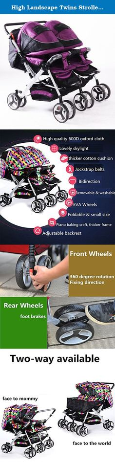 High Landscape Twins Strollers for 0-36 Months Baby Sitting & Lying, Bi-direction & Folding Pushchair For Two Children (purple). Basic information Suitable age: 0-36 months baby Suitable season:Summer & Winter Load bearing: 25kg Cloth material: 600D oxford cloth Frame material: Aluminum alloy Safety belt: 5-point harness Seat ground clearance:50cm Sleeping basket size: 84*36cm Unfolding size: 92*92*102cm Folding size:92*92*35cm Gross weight: 16kg Free gifts: Foot muff *2, mosquito net *2...