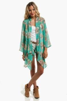 Grave Yard Kimono Cardigan $54 at www.tobi.com  in mint