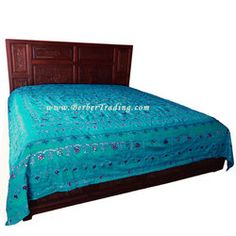 o       Sultana Bedspread from Berber Designs Collection is made of poly/cotton silk and features exclusive elaborate embroidered patterns embellished with detailed sequins. Each sequin in stitched using double threads to maintain the strength and quality! Our exclusive collection is available in bright colors and various kinds of embellishments. We offer this turquoise bedcover that is unique and very elegant. This bedspreads collection will add glamour to the ambiance of the room and m...
