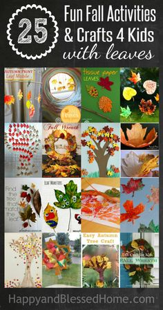 25 Fun Fall Activities and Crafts for Kids with Fall Leaves from HappyandBlessedHome.com  Plus enter to WIN $500 Cash until September 25, 2015 - don't miss this list of great DIY activities, and even possible gifts for fall!
