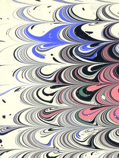 Modern 20th c. marbled paper, Wide comb pattern - Don Guyot