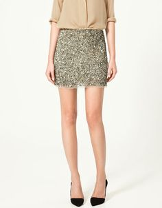 Ha! Found one ... $14.99 at Zara ... Now should I get this color or yellow gold? Going to wear with a crisp fitted white shirt, bright yellow statement necklace & strappy platform nude color heels  (sequin mini skirt)