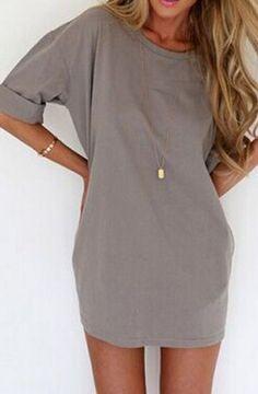 Grey Plain Print Elbow Sleeve Chiffon Mini Dress