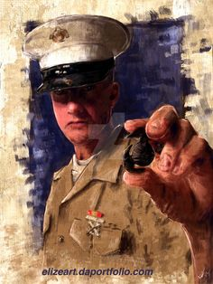 This is a commission portrait for a fellow Marine. Its been awhile since i've painted a portrait so it was very fun to do. Blood Sweat and Tears Blood Sweat And Tears, Deviantart, Comics, Portrait, Men Portrait, Comic Books, Comic Book, Comic, Paintings