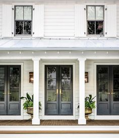 Farmhouse Exterior Design Ideas - The farmhouse exterior design completely reflects the entire style of your house as well as the household tradition also. The modern farmhouse style is not only for. Farmhouse Front Porches, Modern Farmhouse Exterior, Farmhouse Homes, Farmhouse Style, Farmhouse Architecture, Exterior French Doors, Front French Doors, French Doors Patio, Bedroom With French Doors