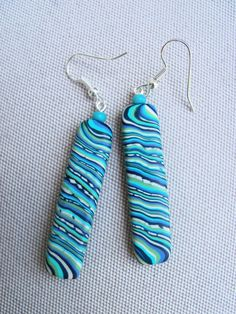Polymer Clay Earrings pierced blue and by FlowertownOriginals, $12.00 #hmcspooky #handmadebot #boebot