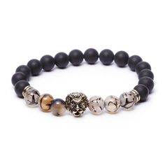 Lion Bracelet // Onyx Stone // Grey + White
