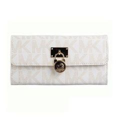 Michael Kors Hamilton Logo Signature Large White Wallets
