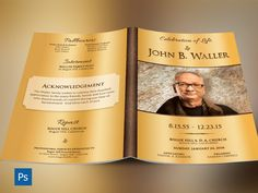 Solid Gold Funeral Program Photoshop Template is for a modern memorial or home going service. It's gold decals and text style laid over a dark paisley background will honor and dignify your loved ones. A great keepsake program. 4 color options and 4 Photo Shape Option are included for easy custom