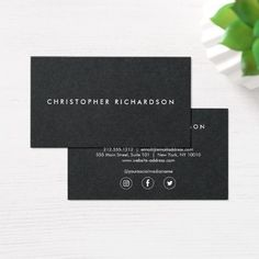 Modern And Minimal White Ink On Black Business Card