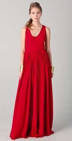 Yigal Azrouel Red Full Skirt Maxi Dress with Slits