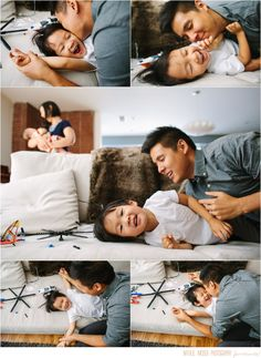 Fun father and son moment with lots of tickles // lifestyle family photography by Natalie Moser