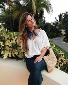 The perfect body suit, how to wear a neck scarf, dark wash denim jeans Scarf Outfit Summer, Summer Outfits, Denim Jeans, Denim Shirt, Cancun, Vogue, Neck Scarves, Elegant Outfit, Classy Outfits