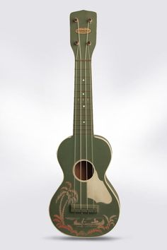 "Harmony ""Palm Tree"" Model Soprano Ukulele, c. 1940's, made in Chicago, green paint with stenciling finish, birch body, pop..."