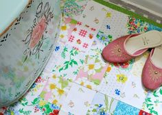 vintage sheets and Alicia's Genius Tutorial for the Patchwork, bath rug