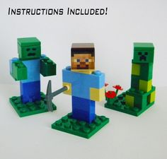 Lego Minecraft Lot Three Minifigures Steve, Zombie and Creeper With Instructions