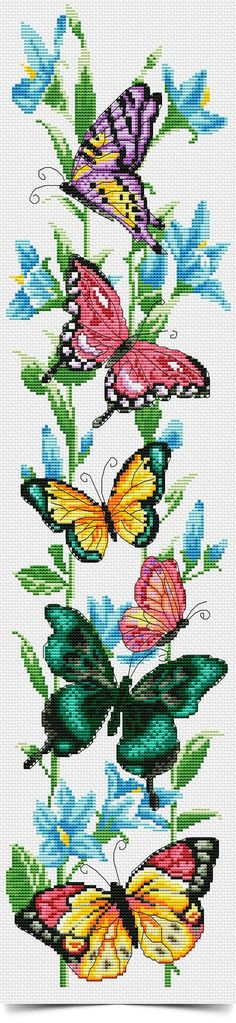 Cross stitch butterflies and chart. Colorful, realistic w/charts. Butterfly Cross Stitch, Cross Stitch Bird, Cross Stitch Animals, Cross Stitch Flowers, Cross Stitching, Cross Stitch Embroidery, Cross Stitch Bookmarks, Cross Stitch Charts, Cross Stitch Designs
