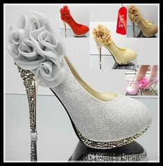 Wholesale Sexy Wedding Heels - Buy Sexy Shinning Glitter High Heels Shoes Pink Yellow Gold Red Silver Flower Wedding Bridal Shoes EU34 to 40 EPacket $32.95 | DHgate