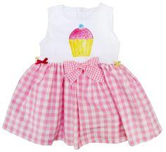 vestido con pastel pintado a mano. Cuerpo de punto y falda de vichy.