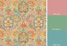 A modern rayon/linen multipurpose fabric in a contemporary ikat emblem design of soft pink, light blue, mint green, yellow, cocoa brown and coral on an ivory background. This mid-weight fabric is suitable for light upholstery, drapery, bedding, pillows and headboards. See additional color links, curtain information and custom pillow cover pricing below. This listing is for fabric by the yard.  FABRIC SAMPLES:  Fabric Name for Sample Order: Dover Order Fabric Swatches Here: https:/&#...