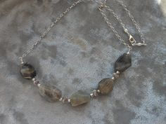 Labradorite Necklace Natural Stone Necklace by TheButterflyGarden7, $37.00