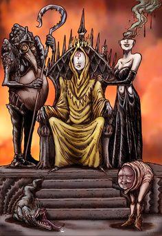 In the Court of the Yellow King by Loneanimator on DeviantArt Gothic Horror, Horror Art, Fantasy Rpg, Dark Fantasy, Dark Art Paintings, Lovecraftian Horror, Aliens, Pirate Adventure, Satanic Art