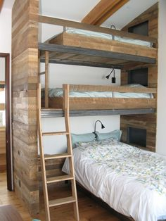 """40 Cute Triple Bunk Bed Design Ideas For Kids Rooms To Have - Many of us who grew up in the """"old days"""" have very fond memories of life in bunk beds. Whether you shared your room with your brother or sister or fir. Cool Loft Beds, Bunk Beds For Boys Room, Bunk Bed Rooms, Loft Bunk Beds, Modern Bunk Beds, Bunk Beds With Stairs, Kid Beds, Custom Bunk Beds, Bedrooms"""