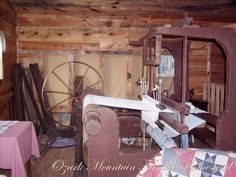 Wooden Loom and Spinning Wheel