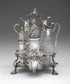 1893 Russian silver Cruet set with original glass bottles. Petersburg silver 84 Maker mark C. Condiment Sets, Antique Market, Silver Spoons, Makers Mark, Glass Bottles, Antique Silver, Objects, Crystals, Antiques
