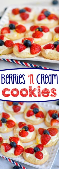 Almost too pretty to eat, these Berries 'N Cream Cookies are the easiest recipe you'll make all summer long! Sweet sugar cookies are topped with a bright, lemon cream cheese frosting and fresh berries! Soooo good!